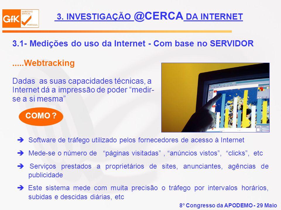 8º Congresso da APODEMO - 29 Maio 3.1- Medições do uso da Internet - Com base no SERVIDOR.....Webtracking Dadas as suas capacidades técnicas, a Intern