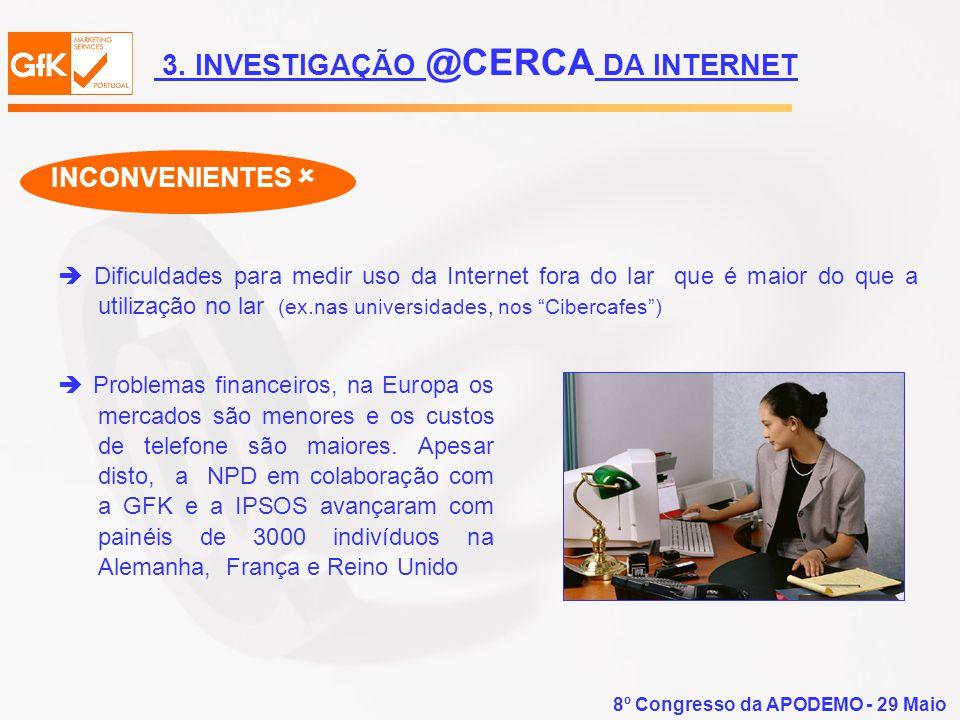 8º Congresso da APODEMO - 29 Maio Dificuldades para medir uso da Internet fora do lar que é maior do que a utilização no lar (ex.nas universidades, no