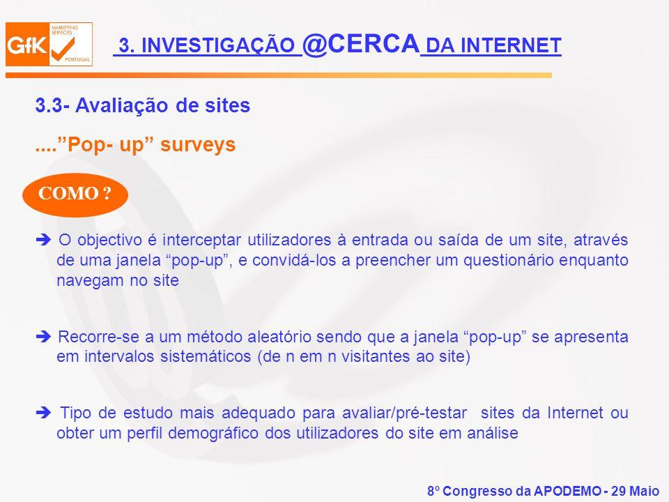 8º Congresso da APODEMO - 29 Maio COMO ? O objectivo é interceptar utilizadores à entrada ou saída de um site, através de uma janela pop-up, e convidá