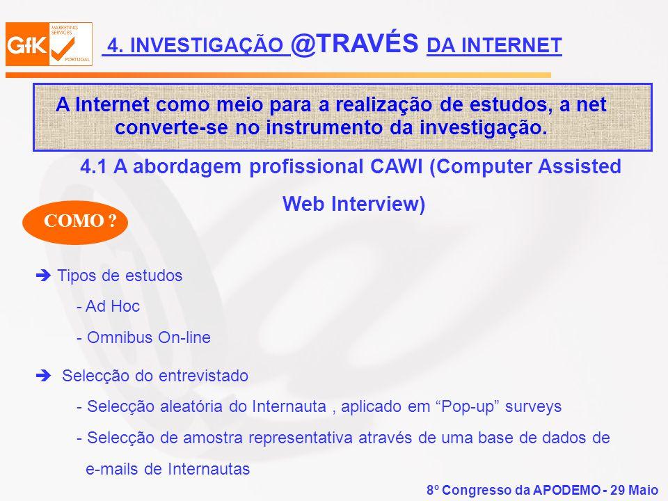 8º Congresso da APODEMO - 29 Maio A Internet como meio para a realização de estudos, a net converte-se no instrumento da investigação. Tipos de estudo