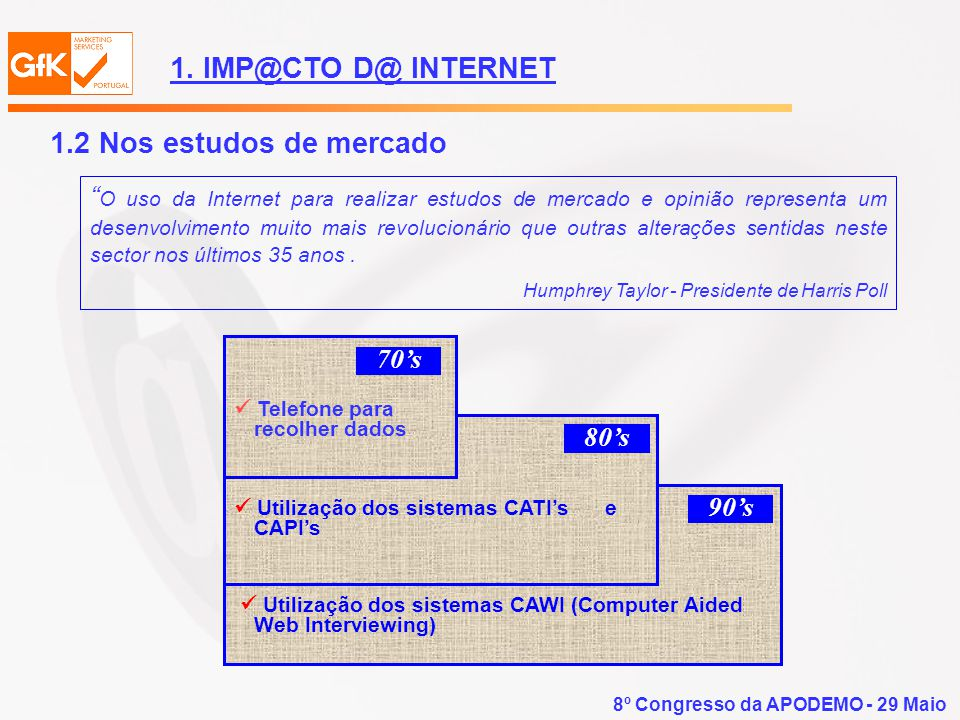 8º Congresso da APODEMO - 29 Maio.....EM CONCLUSÃO A Internet revolucionou a forma de fazer estudos de mercado, permitindo realizar-se estudos........mais rapidamente..a um custo menor..mais abrangentes 4.