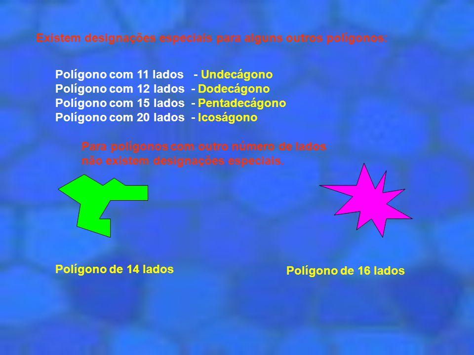 Existem designações especiais para alguns outros polígonos: Polígono com 11 lados - Undecágono Polígono com 12 lados - Dodecágono Polígono com 15 lado