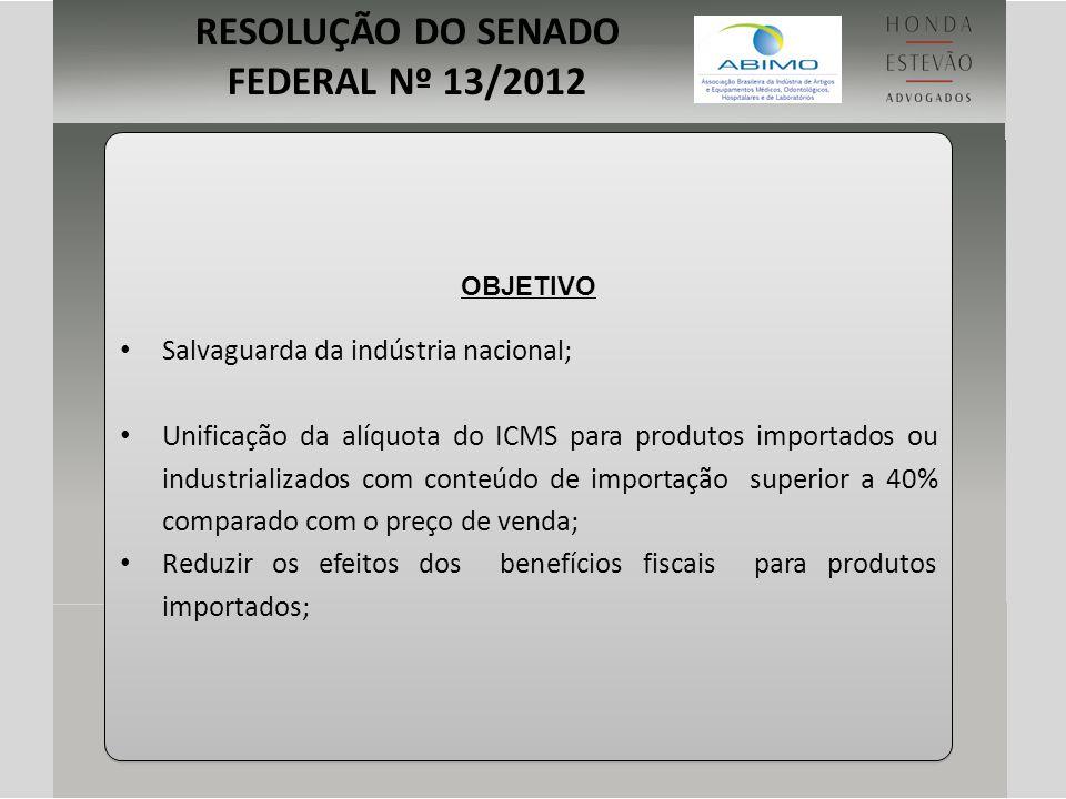 OBJETIVO Salvaguarda da indústria nacional; Unificação da alíquota do ICMS para produtos importados ou industrializados com conteúdo de importação sup