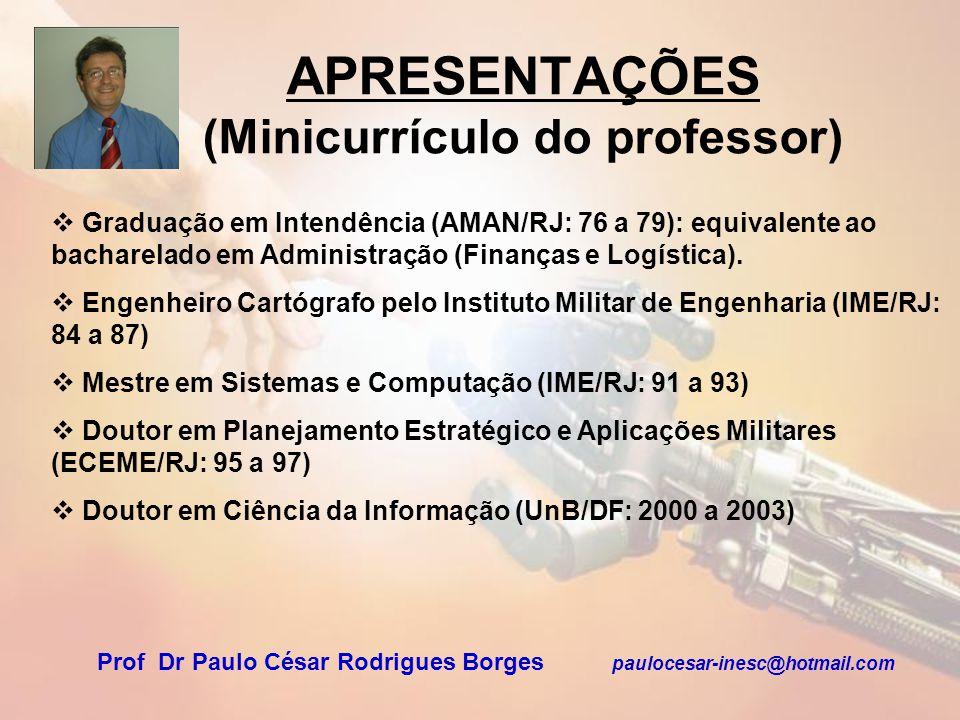 APRESENTAÇÕES (Minicurrículo do professor) Graduação em Intendência (AMAN/RJ: 76 a 79): equivalente ao bacharelado em Administração (Finanças e Logíst