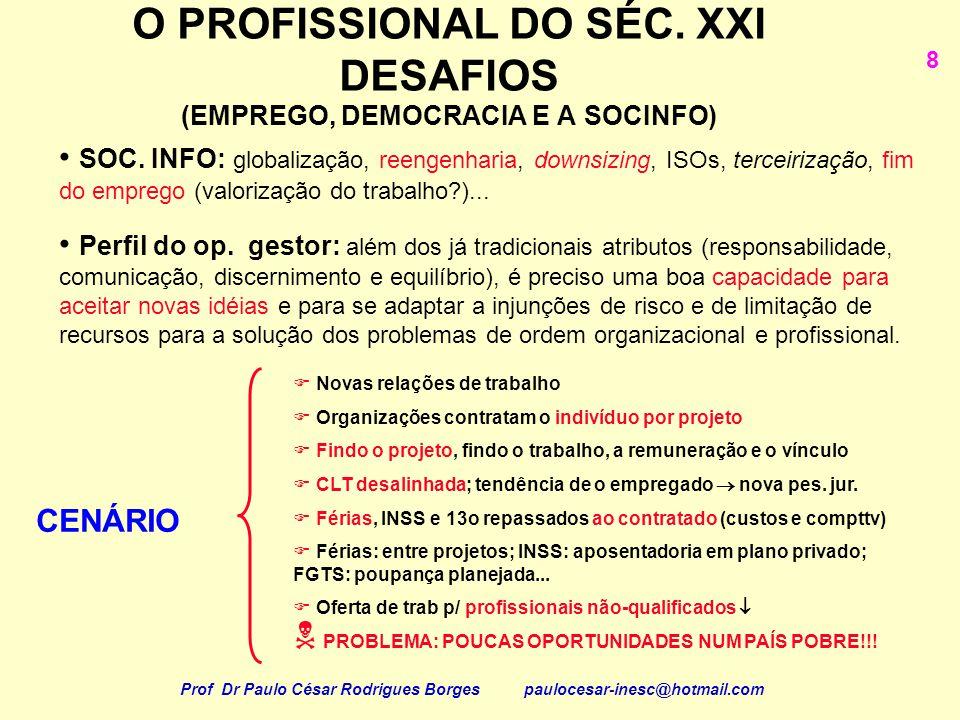 O PROFISSIONAL DO SÉC. XXI DESAFIOS (EMPREGO, DEMOCRACIA E A SOCINFO) 8 SOC. INFO: globalização, reengenharia, downsizing, ISOs, terceirização, fim do