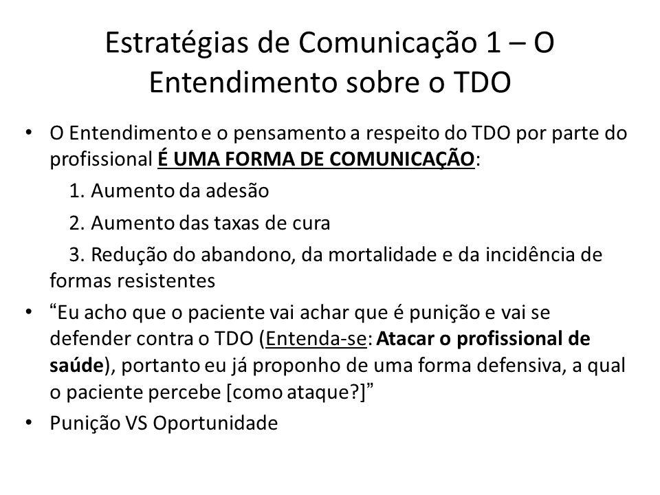 Estratégias de Comunicação 1 – O Entendimento sobre o TDO O Entendimento e o pensamento a respeito do TDO por parte do profissional É UMA FORMA DE COMUNICAÇÃO: 1.