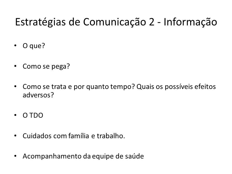 Estratégias de Comunicação 2 - Informação O que? Como se pega? Como se trata e por quanto tempo? Quais os possíveis efeitos adversos? O TDO Cuidados c