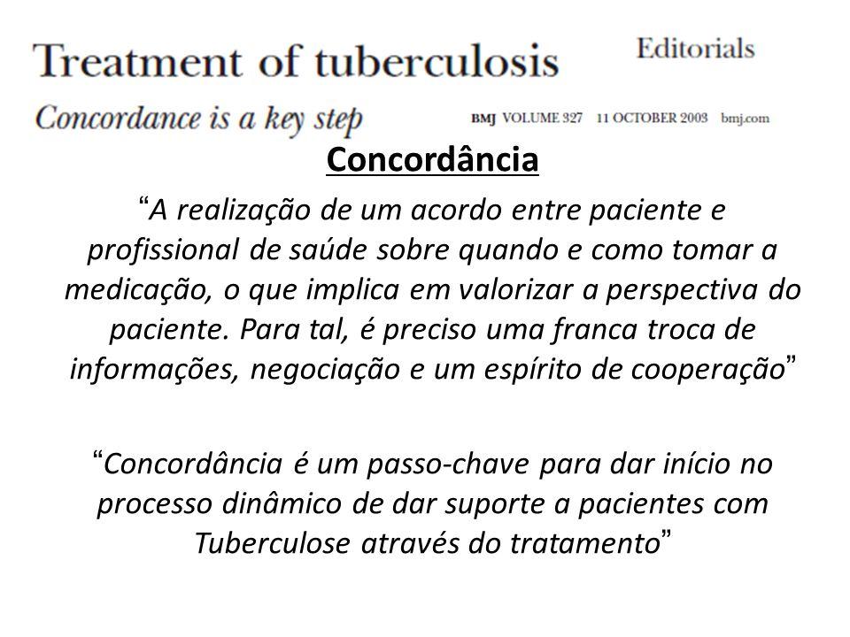 Concordância A realização de um acordo entre paciente e profissional de saúde sobre quando e como tomar a medicação, o que implica em valorizar a perspectiva do paciente.