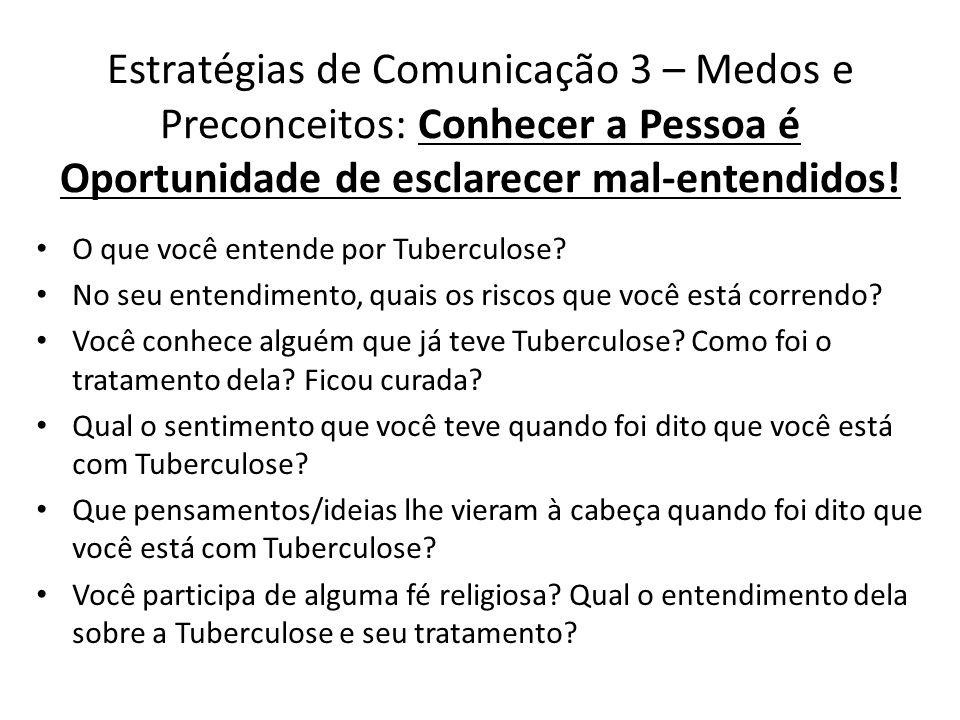 O que você entende por Tuberculose? No seu entendimento, quais os riscos que você está correndo? Você conhece alguém que já teve Tuberculose? Como foi