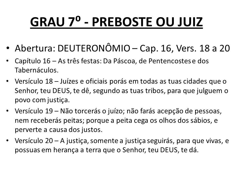 GRAU 7 - PREBOSTE OU JUIZ Abertura: DEUTERONÔMIO – Cap.