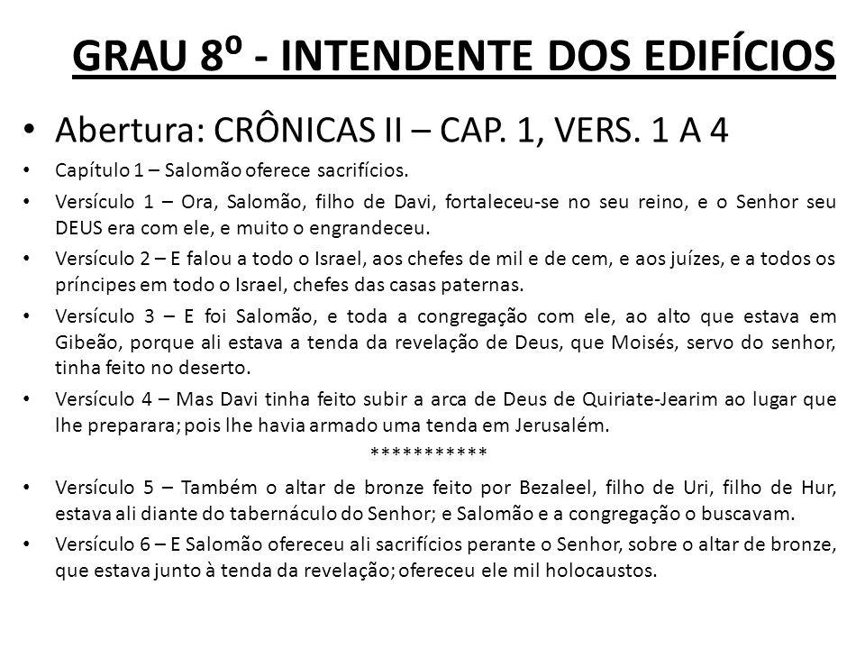 GRAU 8 - INTENDENTE DOS EDIFÍCIOS Abertura: CRÔNICAS II – CAP.