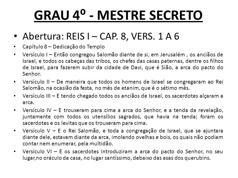 GRAU 4 - MESTRE SECRETO Abertura: REIS I – CAP.8, VERS.