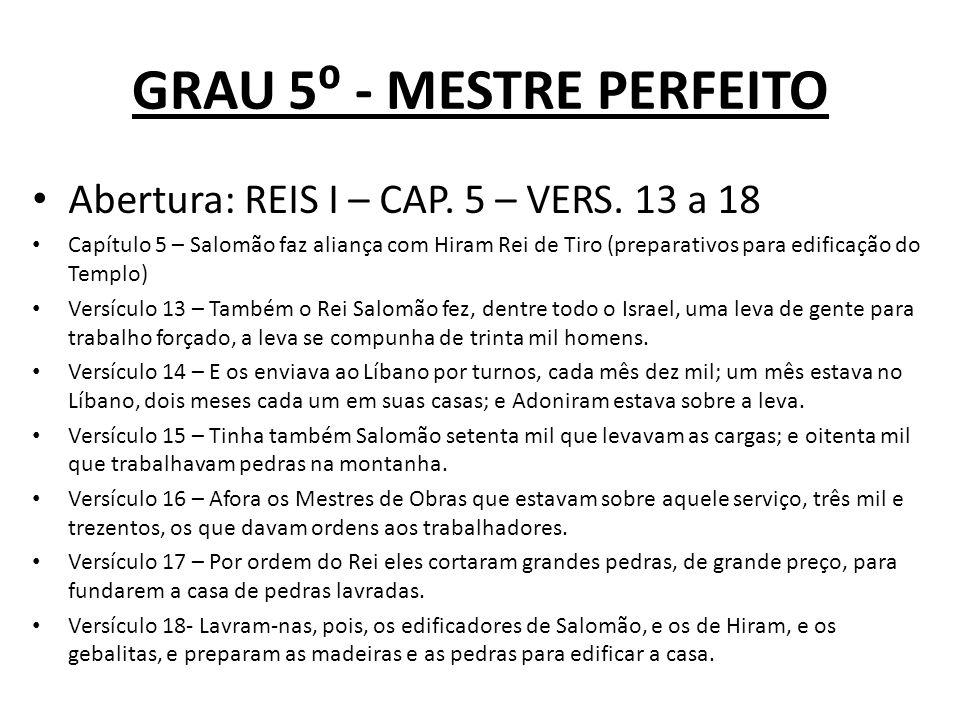 GRAU 5 - MESTRE PERFEITO Abertura: REIS I – CAP.5 – VERS.