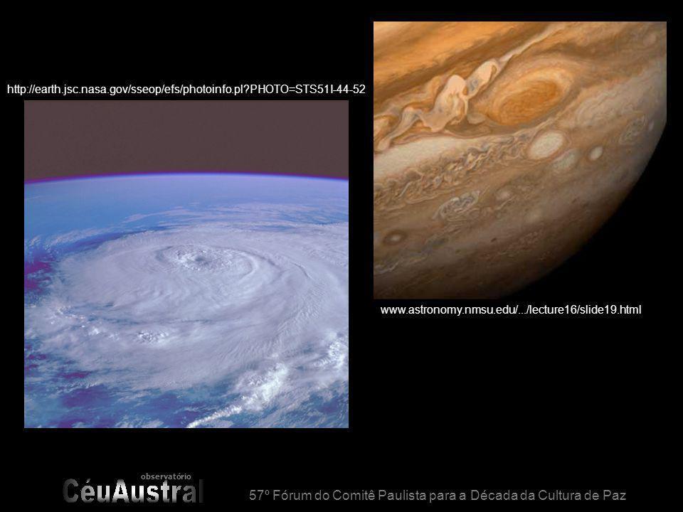 observatório 57º Fórum do Comitê Paulista para a Década da Cultura de Paz www.astronomy.nmsu.edu/.../lecture16/slide19.html http://earth.jsc.nasa.gov/sseop/efs/photoinfo.pl?PHOTO=STS51I-44-52