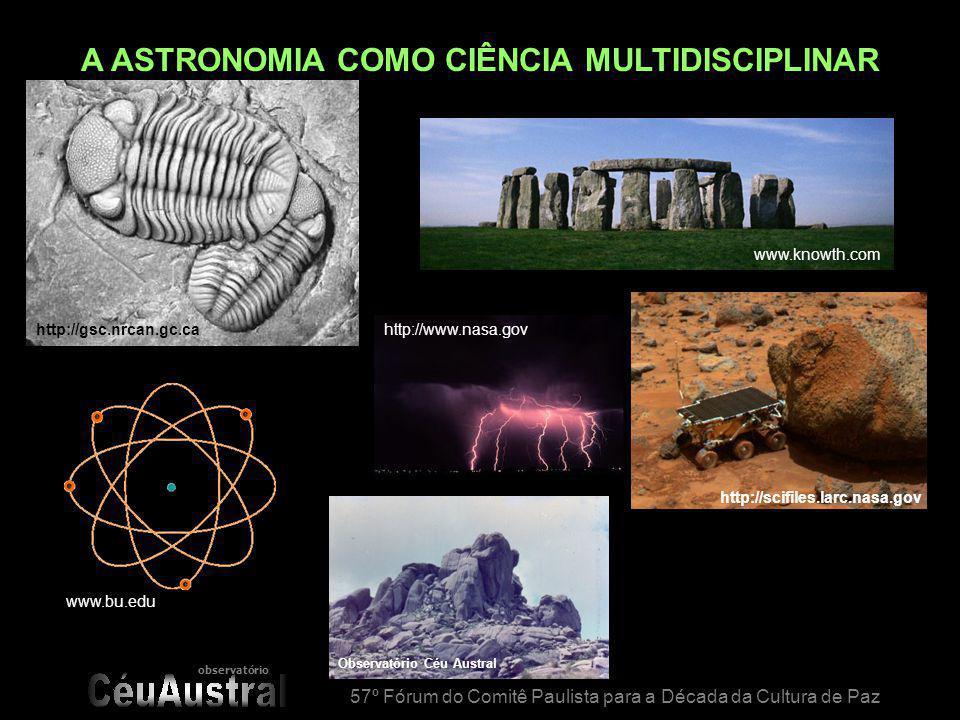 observatório 57º Fórum do Comitê Paulista para a Década da Cultura de Paz www.astro.washington.edu www.calgary.rasc.ca/lp/astronomy.html