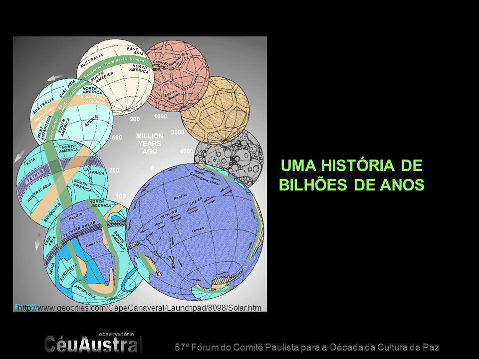 observatório 57º Fórum do Comitê Paulista para a Década da Cultura de Paz UMA HISTÓRIA DE BILHÕES DE ANOS http://www.geocities.com/CapeCanaveral/Launc