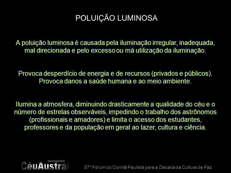observatório 57º Fórum do Comitê Paulista para a Década da Cultura de Paz POLUIÇÃO LUMINOSA A poluição luminosa é causada pela iluminação irregular, inadequada, mal direcionada e pelo excesso ou má utilização da iluminação.