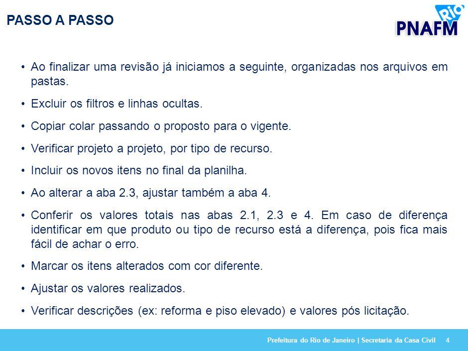 Prefeitura do Rio de Janeiro | Secretaria da Casa Civil4 PASSO A PASSO Ao finalizar uma revisão já iniciamos a seguinte, organizadas nos arquivos em pastas.