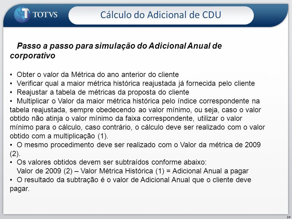 Cálculo do Adicional de CDU 10 Passo a passo para simulação do Adicional Anual de corporativo Obter o valor da Métrica do ano anterior do cliente Veri
