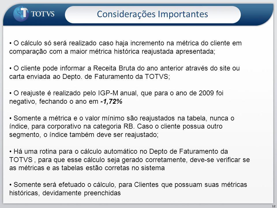 Considerações Importantes 12 O cálculo só será realizado caso haja incremento na métrica do cliente em comparação com a maior métrica histórica reajus