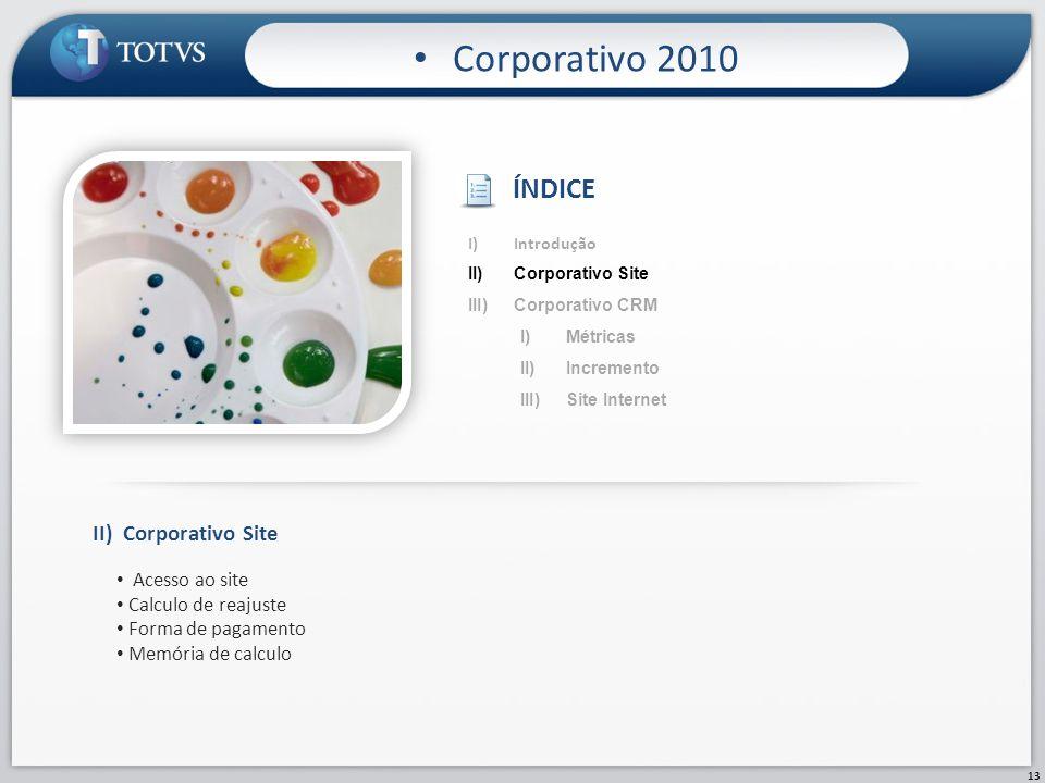 13 Corporativo 2010 II)Corporativo Site Acesso ao site Calculo de reajuste Forma de pagamento Memória de calculo I)Introdução II)Corporativo Site III)