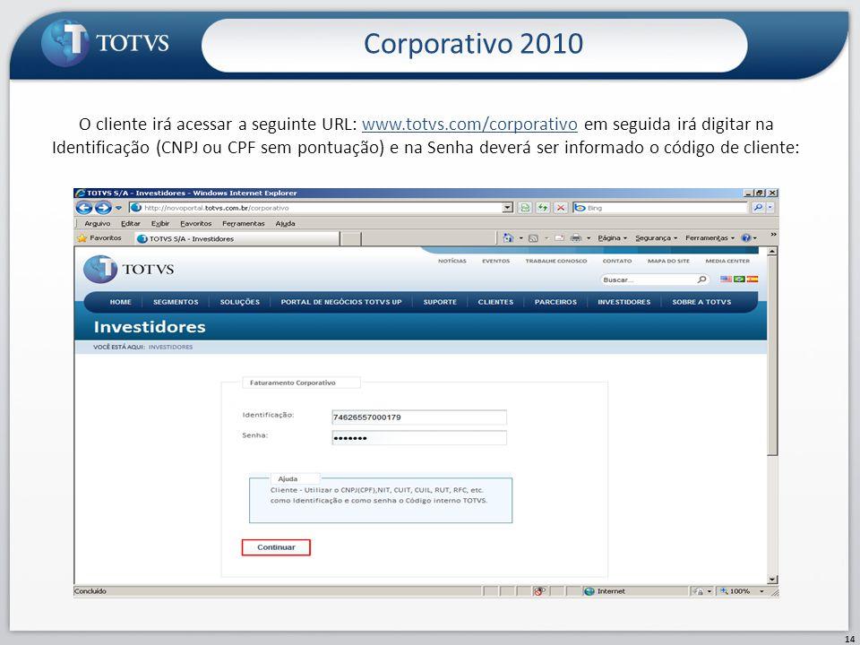 Corporativo 2010 14 O cliente irá acessar a seguinte URL: www.totvs.com/corporativo em seguida irá digitar na Identificação (CNPJ ou CPF sem pontuação