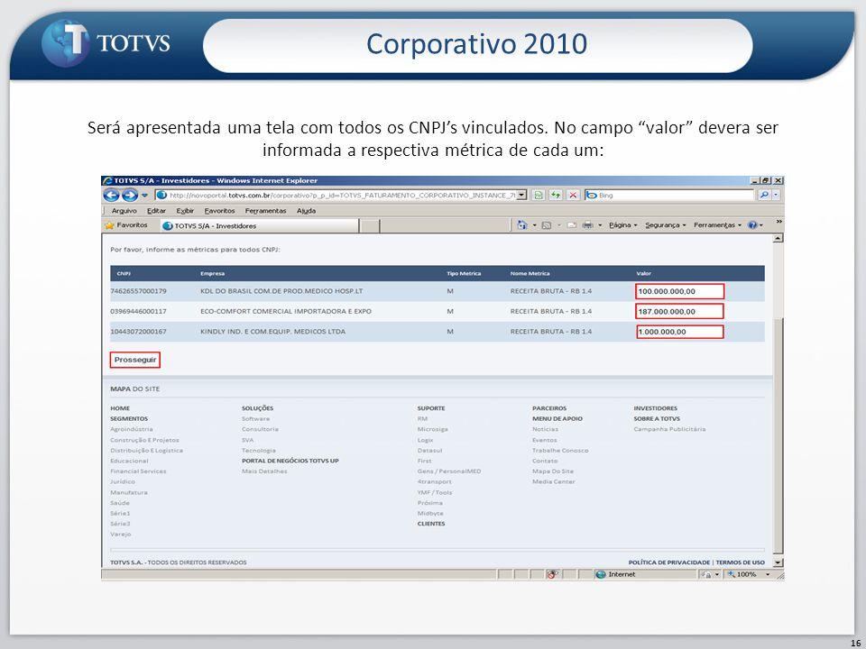 Corporativo 2010 16 Será apresentada uma tela com todos os CNPJs vinculados. No campo valor devera ser informada a respectiva métrica de cada um: