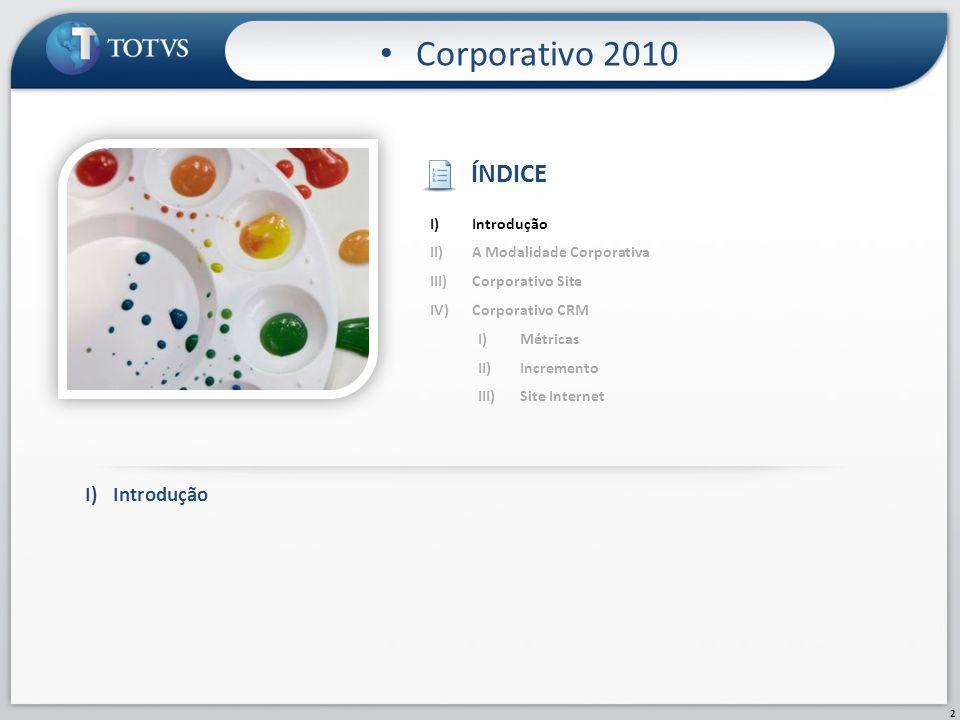 2 Corporativo 2010 I)Introdução II)A Modalidade Corporativa III)Corporativo Site IV)Corporativo CRM I)Métricas II)Incremento III)Site Internet ÍNDICE