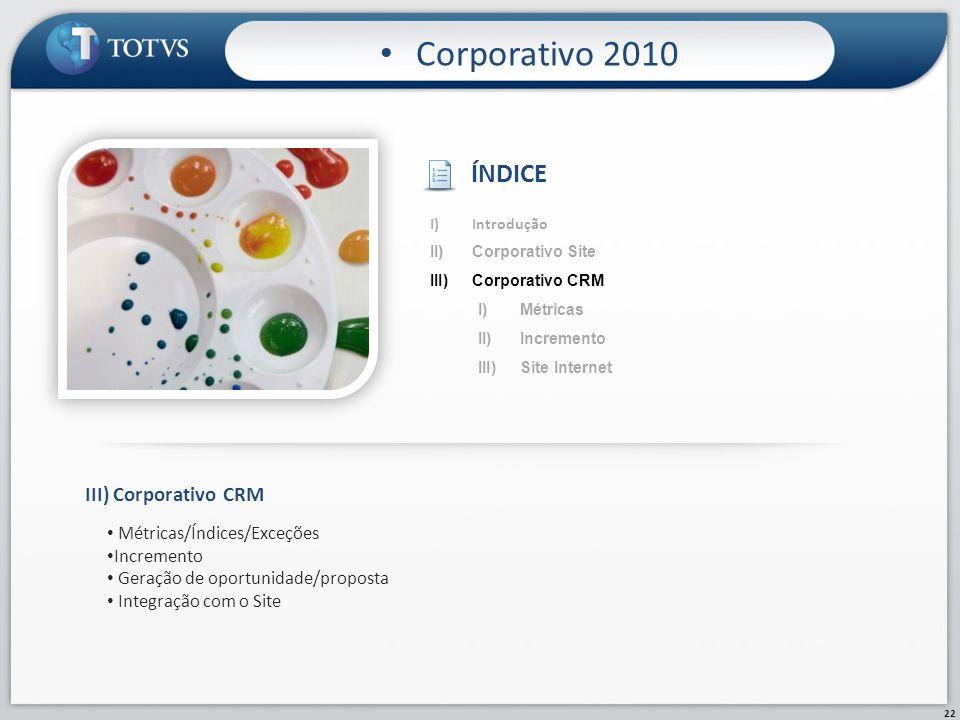 22 Corporativo 2010 III)Corporativo CRM Métricas/Índices/Exceções Incremento Geração de oportunidade/proposta Integração com o Site I)Introdução II)Co