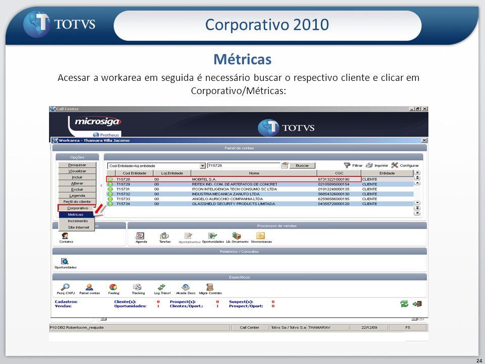 Corporativo 2010 24 Métricas Acessar a workarea em seguida é necessário buscar o respectivo cliente e clicar em Corporativo/Métricas: