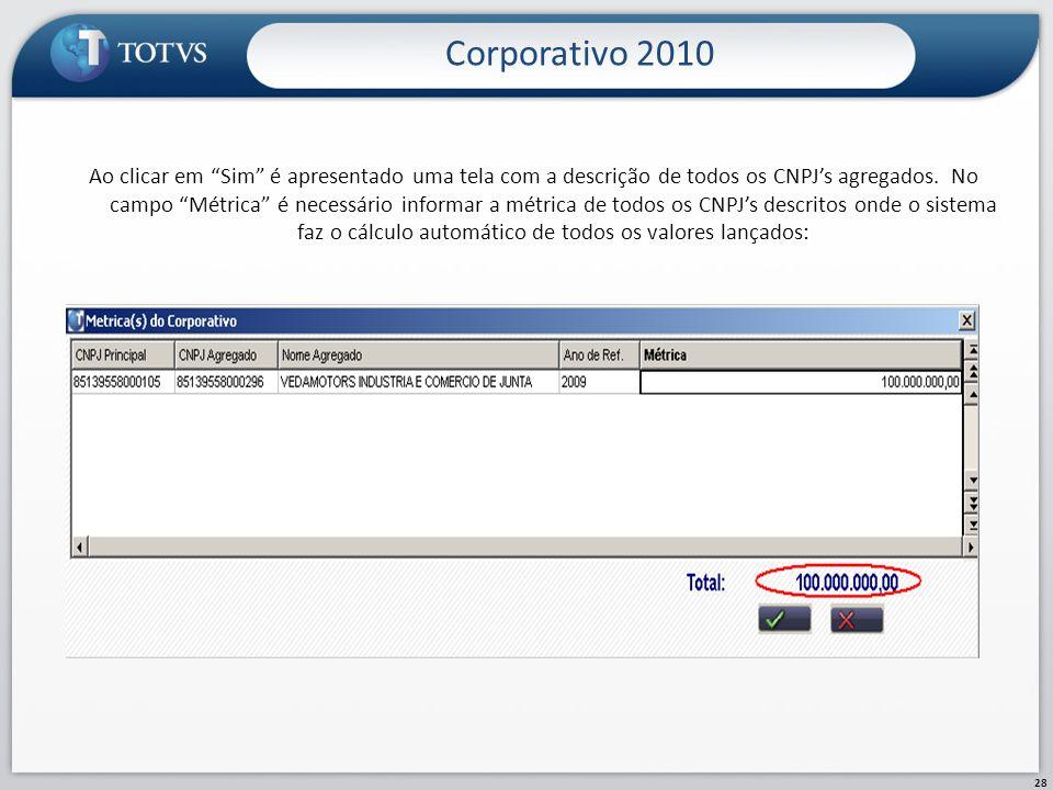 Corporativo 2010 28 Ao clicar em Sim é apresentado uma tela com a descrição de todos os CNPJs agregados. No campo Métrica é necessário informar a métr