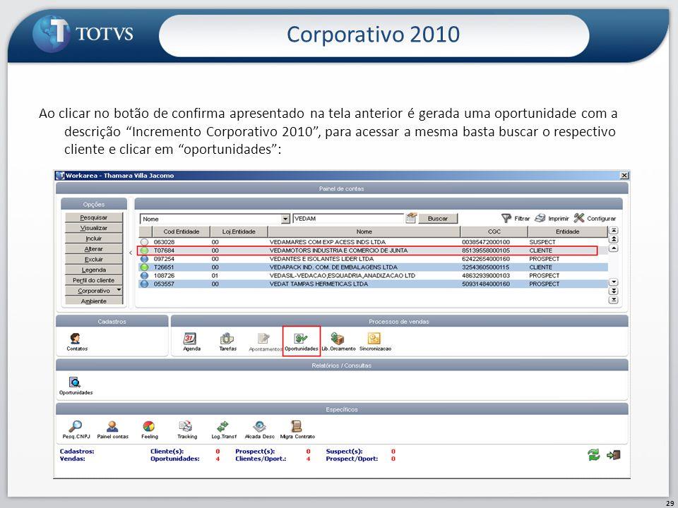 Corporativo 2010 29 Ao clicar no botão de confirma apresentado na tela anterior é gerada uma oportunidade com a descrição Incremento Corporativo 2010,