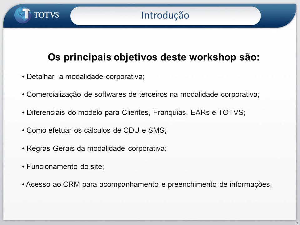 Introdução 3 Os principais objetivos deste workshop são: Detalhar a modalidade corporativa; Comercialização de softwares de terceiros na modalidade co