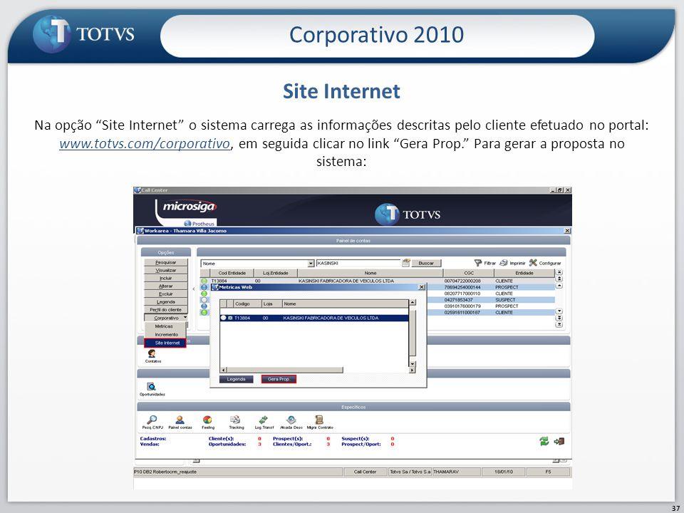Site Internet 37 Na opção Site Internet o sistema carrega as informações descritas pelo cliente efetuado no portal: www.totvs.com/corporativo, em segu