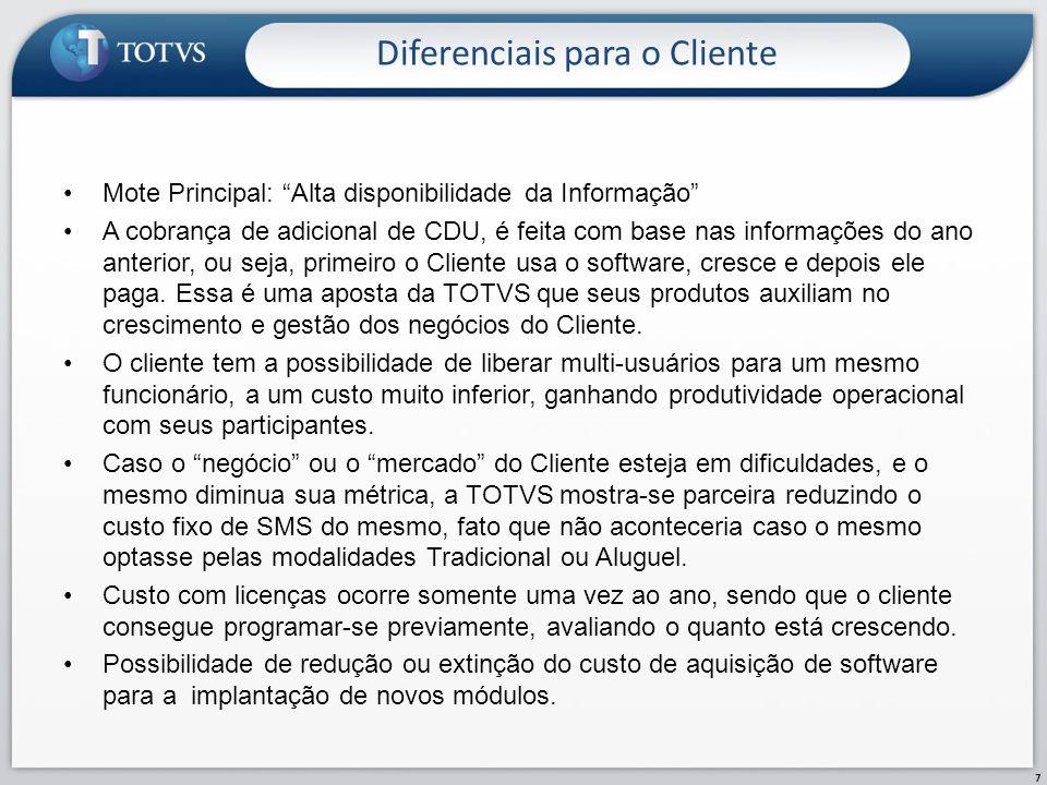 Diferenciais para a TOTVS 8 Aumento da usabilidade dos softwares por parte dos Clientes, aumentando a satisfação dos mesmos.