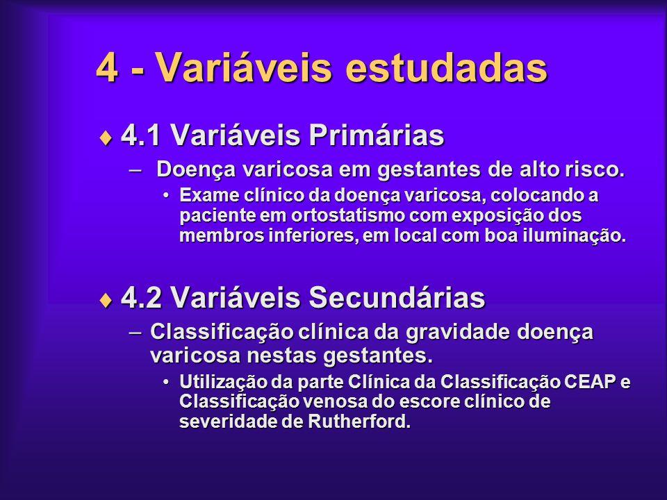 4 - Variáveis estudadas 4.1 Variáveis Primárias 4.1 Variáveis Primárias – Doença varicosa em gestantes de alto risco. Exame clínico da doença varicosa