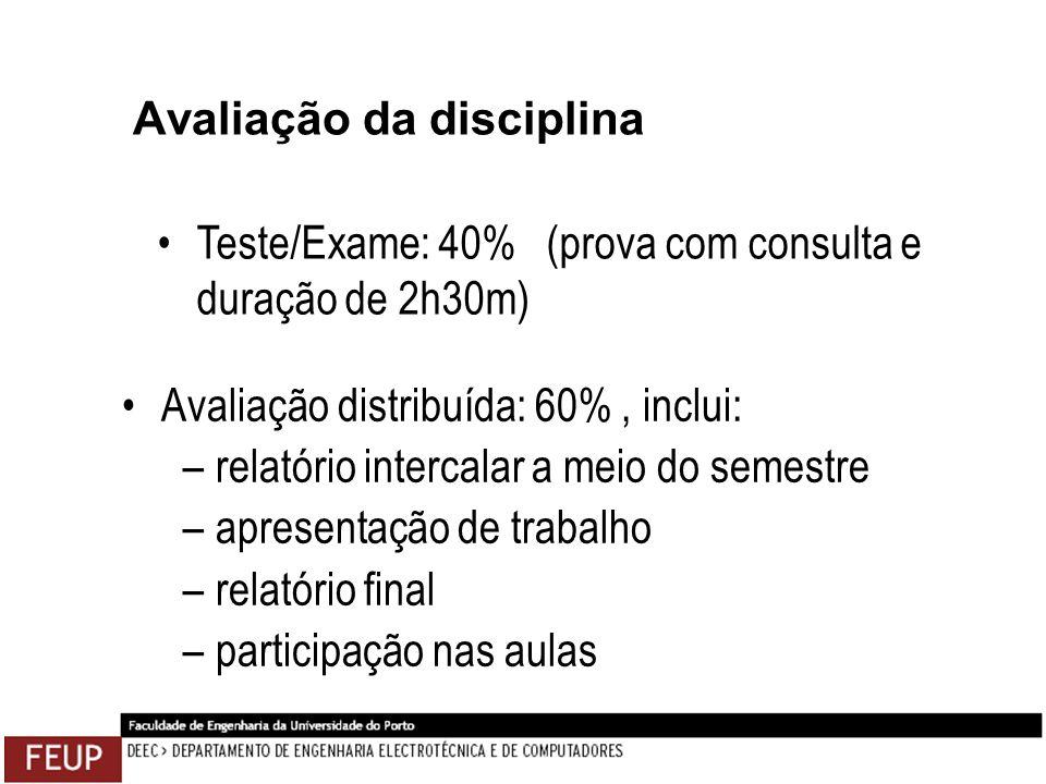 Avaliação da disciplina Avaliação distribuída: 60%, inclui: –relatório intercalar a meio do semestre –apresentação de trabalho –relatório final –parti