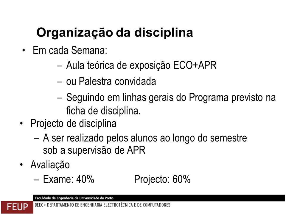 Organização da disciplina Projecto de disciplina –A ser realizado pelos alunos ao longo do semestre sob a supervisão de APR Avaliação –Exame: 40%Proje