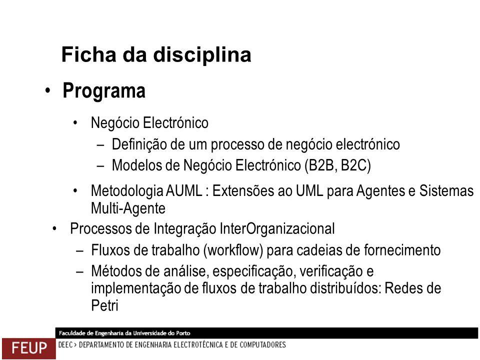 Ficha da disciplina Programa Processos de Integração InterOrganizacional –Fluxos de trabalho (workflow) para cadeias de fornecimento –Métodos de análi