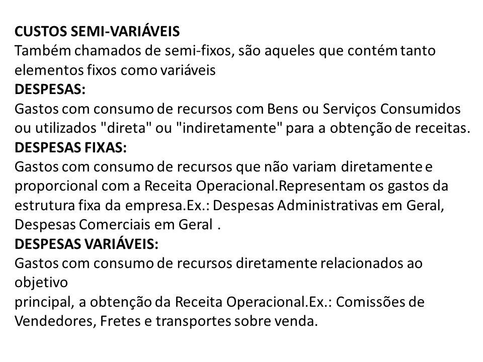 CUSTOS SEMI-VARIÁVEIS Também chamados de semi-fixos, são aqueles que contém tanto elementos fixos como variáveis DESPESAS: Gastos com consumo de recur