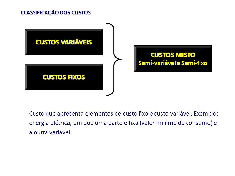 CLASSIFICAÇÃO DOS CUSTOS Custo que apresenta elementos de custo fixo e custo variável. Exemplo: energia elétrica, em que uma parte é fixa (valor mínim