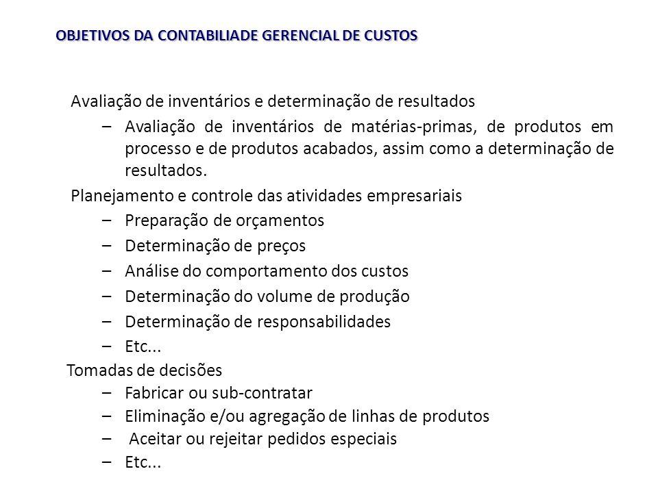 OBJETIVOS DA CONTABILIADE GERENCIAL DE CUSTOS Avaliação de inventários e determinação de resultados –Avaliação de inventários de matérias-primas, de produtos em processo e de produtos acabados, assim como a determinação de resultados.