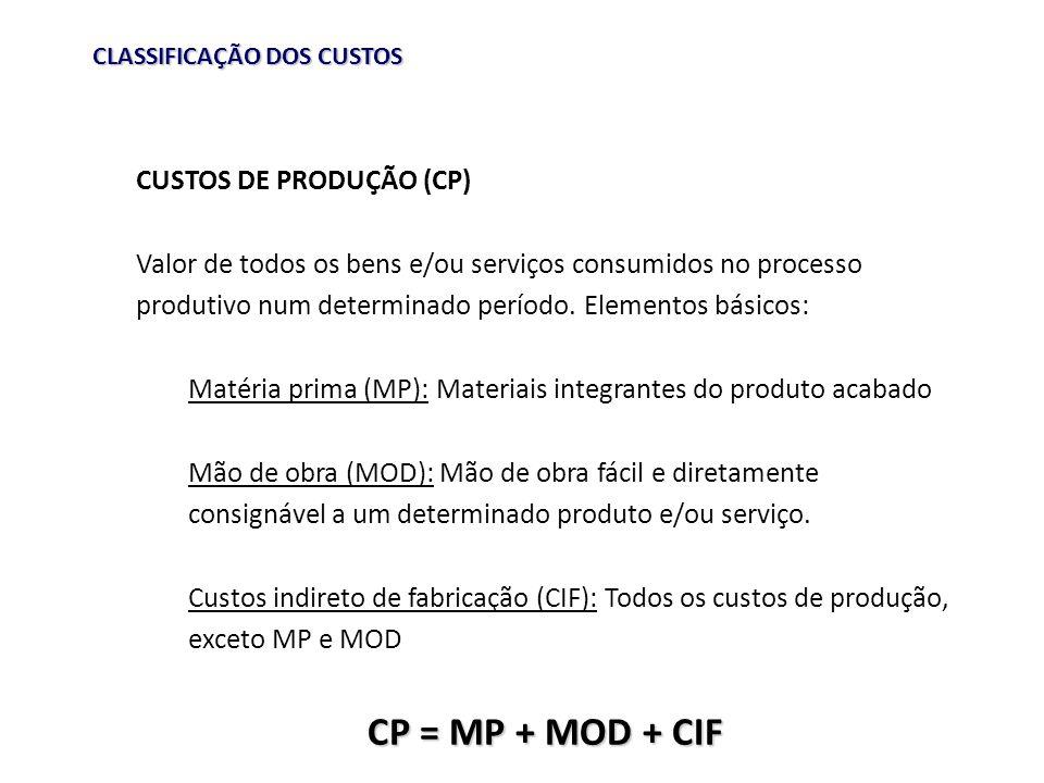 CLASSIFICAÇÃO DOS CUSTOS CUSTOS DE PRODUÇÃO (CP) Valor de todos os bens e/ou serviços consumidos no processo produtivo num determinado período. Elemen