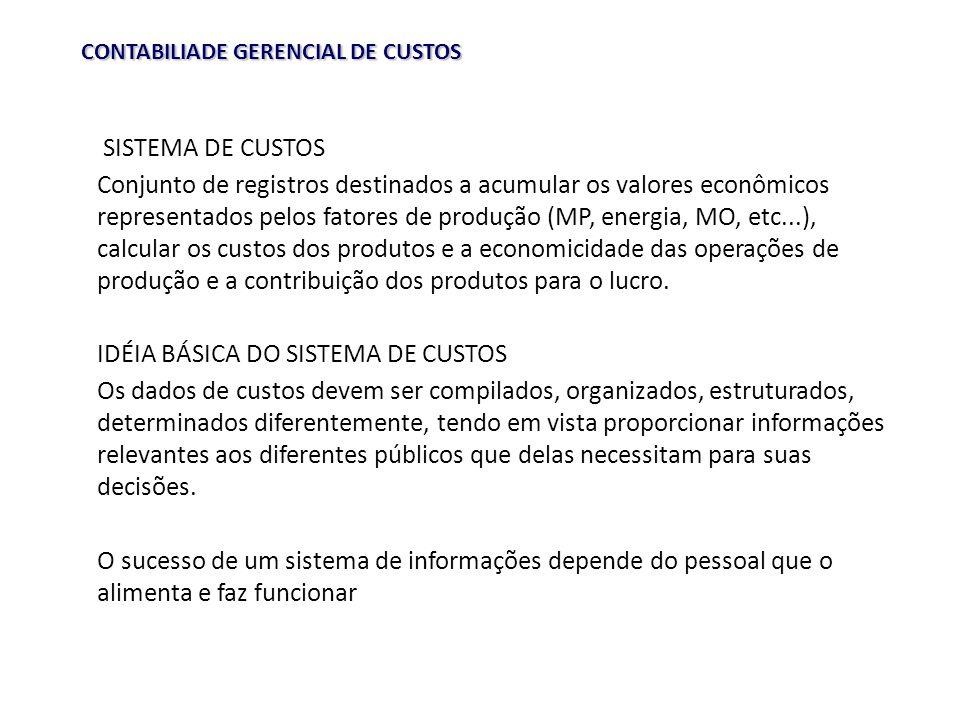 CONTABILIADE GERENCIAL DE CUSTOS SISTEMA DE CUSTOS Conjunto de registros destinados a acumular os valores econômicos representados pelos fatores de pr