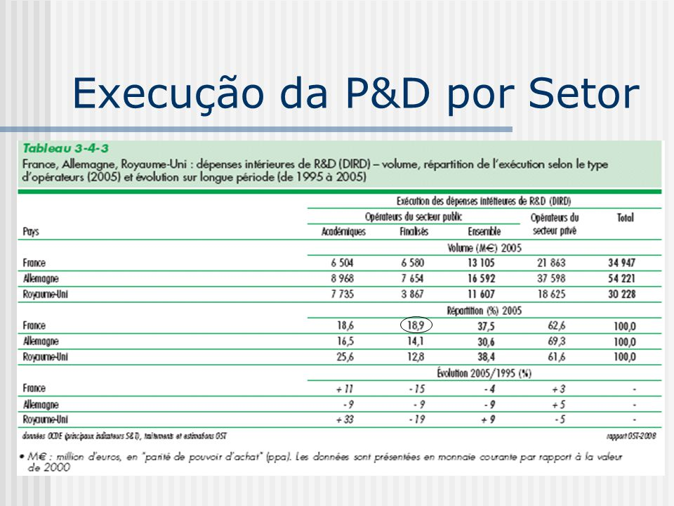 Execução da P&D por Setor