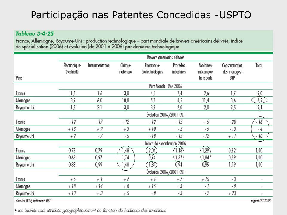 Participação nas Patentes Concedidas -USPTO