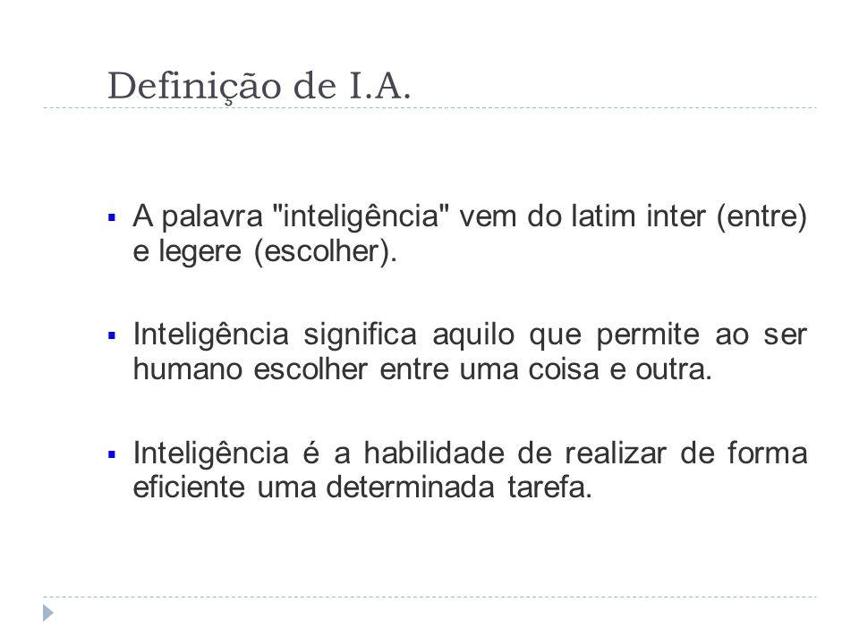 Definição de I.A.A palavra inteligência vem do latim inter (entre) e legere (escolher).