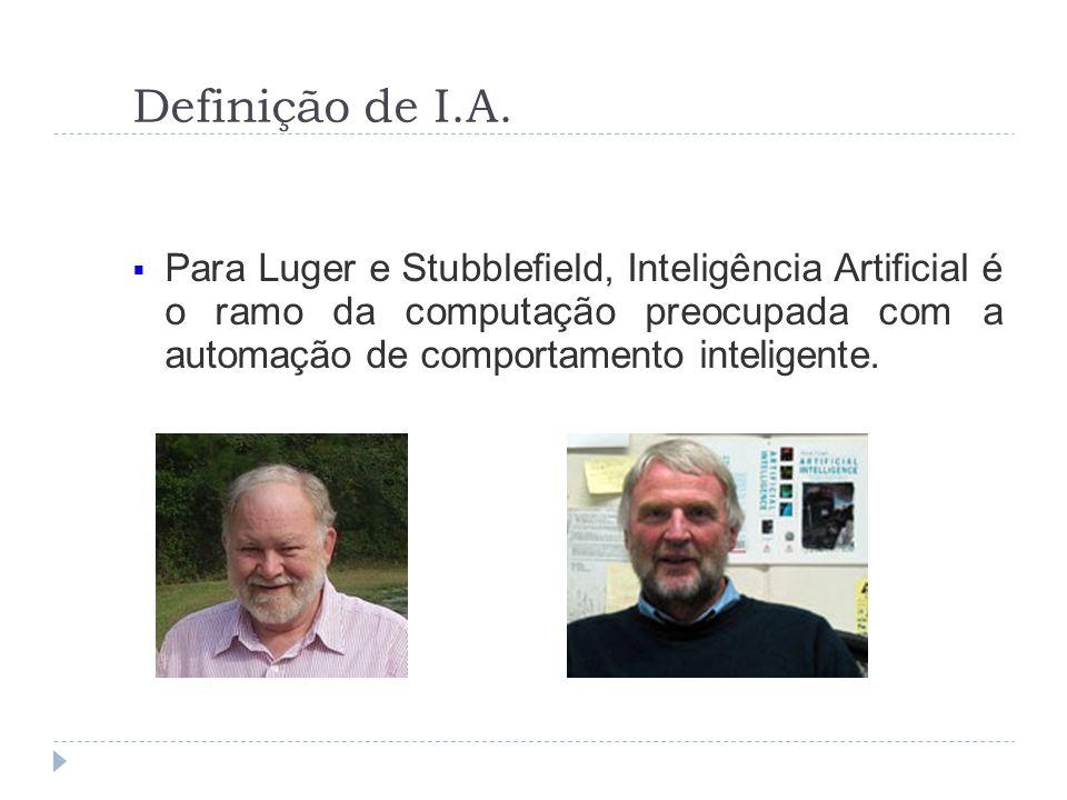 Definição de I.A. Para Luger e Stubblefield, Inteligência Artificial é o ramo da computação preocupada com a automação de comportamento inteligente.