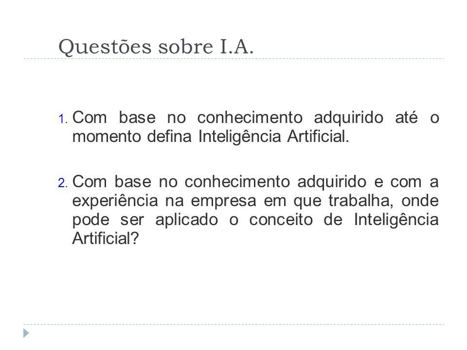Questões sobre I.A. 1. Com base no conhecimento adquirido até o momento defina Inteligência Artificial. 2. Com base no conhecimento adquirido e com a