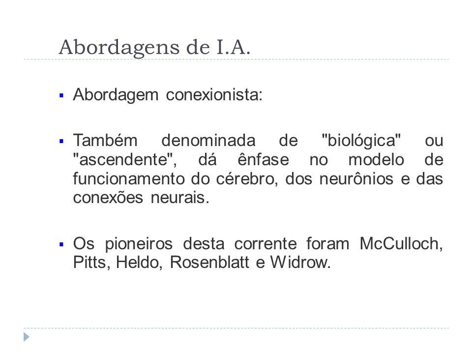 Abordagens de I.A. Abordagem conexionista: Também denominada de